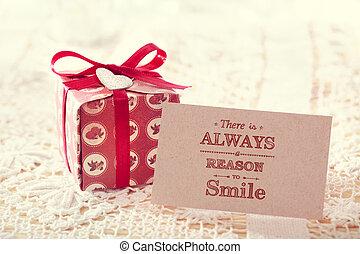 lá, é, always, um, razão, sorrir, mensagem, cartão