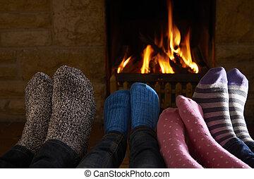 lábak, elbocsát, család, melegítés