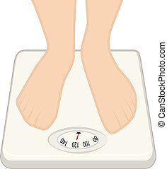 lábak, képben látható, a, súly, machine., mér irányít, concept., túlsúlyú