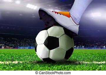 lábak, képben látható, focilabda, alatt, a, stadion
