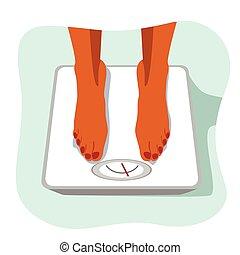 lábak, közül, african american woman, álló, képben látható, súly, scale., fogalom, közül, súly, loss.