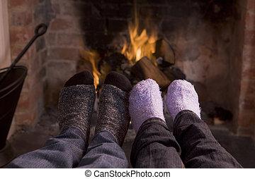 lábak, kandalló, couple\\\'s, melegítés