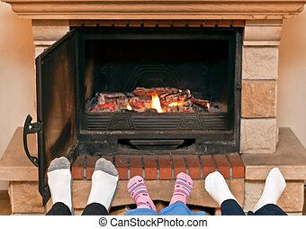 lábak, kandalló, melegítés