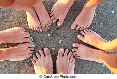 lábak, tengerpart, család, tíz