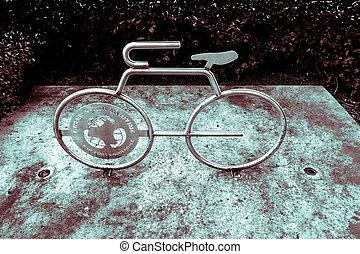 lábfej, florida, belvárosi, bicikli, szobor, lauderdale