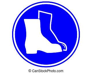 lábfej protection, kell, lenni, kopott