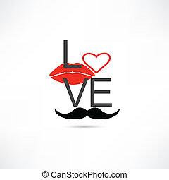 lábios, amor, bigode