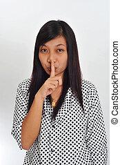 lábios, asiático, jovem, dela, dedo