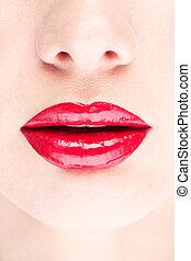 lábios, closeup, vermelho