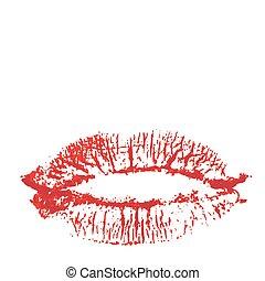 lábios, colorido, beijo