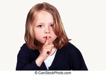 lábios, criança, dedo, sinal