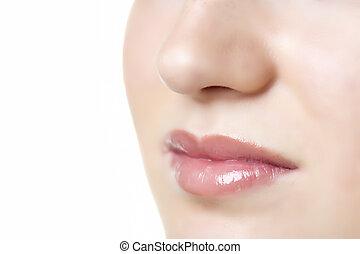 lábios, de, mulher