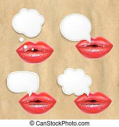 lábios, jogo, fala, bolhas, vermelho