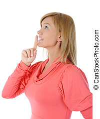 lábios, mulher, dedo