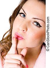 lábios, mulher, jovem, dedo