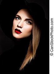 lábios, mulher, vermelho