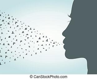 lábios, pássaros