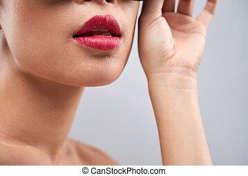 lábios rosas, cheio, sensual