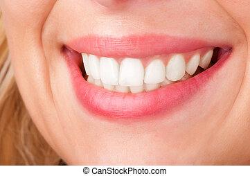 lábios, sorrindo, womans