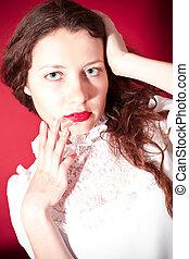 lábios, vermelho, encantador, mulher