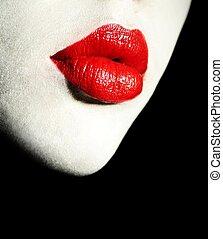 lábios, vermelho