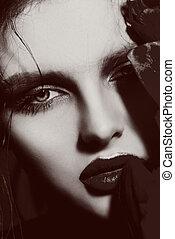 lábios, vermelho, sensual