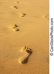 lábnyomok, alatt, homok