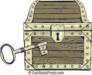 láda, öreg, kulcs, &