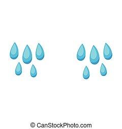 lágrimas, icon.cartoon, tears., fundo branco, ícone,...