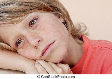 lágrimas, triste, infeliz, chorando, criança