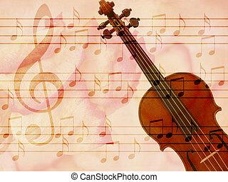 lágy, grunge, zene, háttér, noha, hegedű
