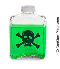 láhev, s, nezkušený, jedovatý, chemikálie, roztok
