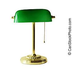 lámpa, bankár, íróasztal