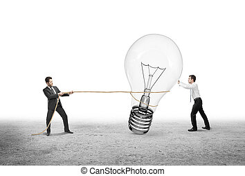 lámpa, vontatás, két, ember