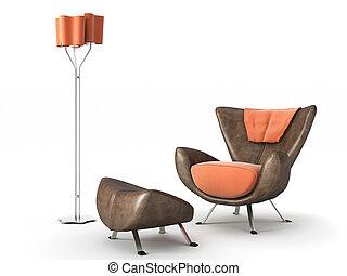 lámpara, blanco, aislado, sofá