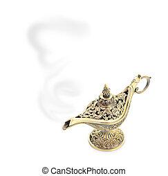 lámpara, blanco, magia, aislado, aladdin