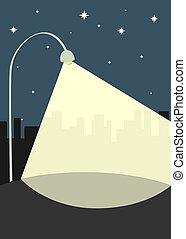 lámpara, calle, ilumina, acera