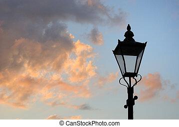 lámpara, calle, silueta