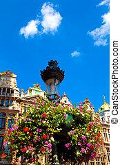lámpara, flores, poste
