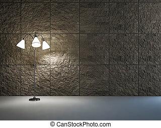 lámpara, habitación, vacío