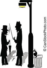 lámpara, hombres, poste, debajo