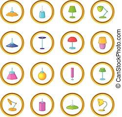 lámpara, iconos, círculo