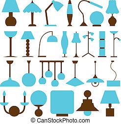 lámpara, iconos