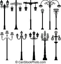 lámpara, lamppost, poste, farola, poste