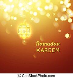 lámpara, oro, plano de fondo, bokeh, ramadan, dorado, saludo...