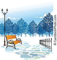 lámpara, parque, poste, banco