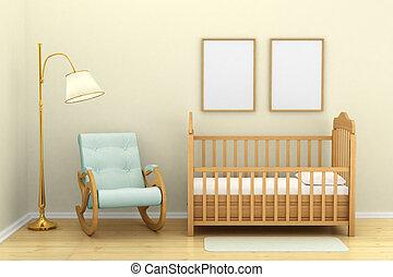 lámpara piso, niños, pesebre, dormitorio, silla