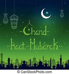 lámpara, plano de fondo, encendido, mubarak, eid