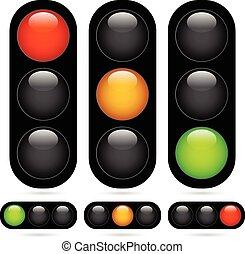 lámpara, /, set., tráfico, vector, luz, illustration.