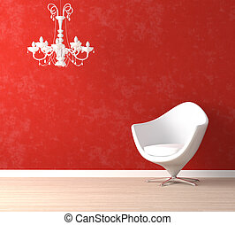 lámpara, silla, rojo blanco